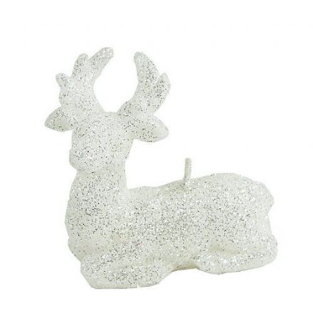 White Glitter Reindeer Candle - 10 cm